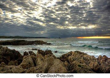 solnedgang, ind, den, cantabric, coast-line