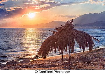 solnedgang, ind, den, havet