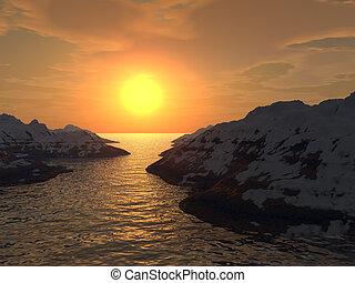 solnedgang, ind, en, afgrunden