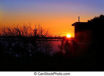solnedgang, ind, landsby