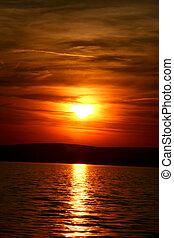 solnedgang, ind, ungarn