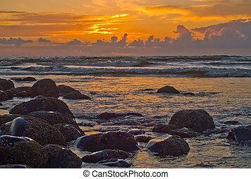 solnedgang, på, den, oregon kyst, 1