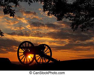 solnedgang, på, liden, omkring, top