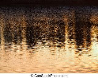 solnedgang, reflektioner, på, den, flod