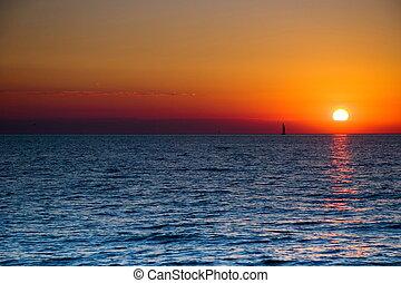 solnedgang, sejlbåd