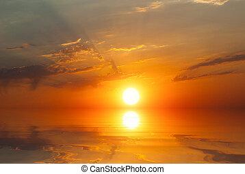 solnedgang, stråler, -, sol, hav