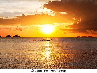 solnedgang, stranden, hos, smukke, himmel