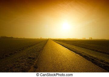 solnedgang, vej