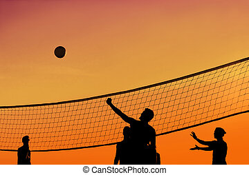 solnedgang, volleyball