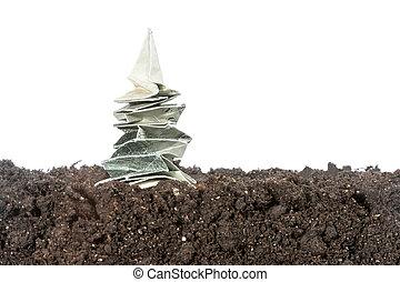 solo, árvore, origami