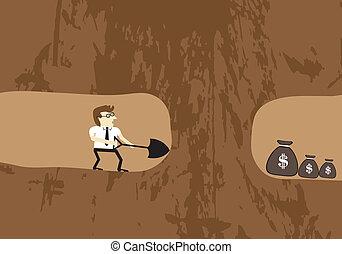 solo, achar, cavando, dinheiro