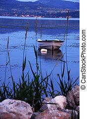 solo, barco, en, azul, río