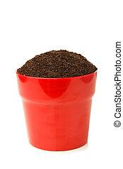 solo, branca, pote, isolado, vermelho
