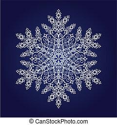 solo, detallado, copo de nieve
