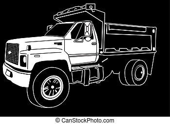 solo, eje, descargue camión