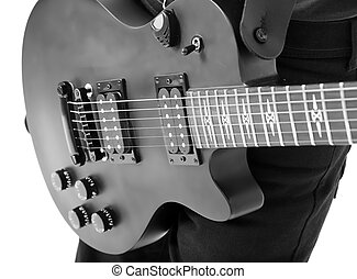 solo electric guitar on white background. Monochrome