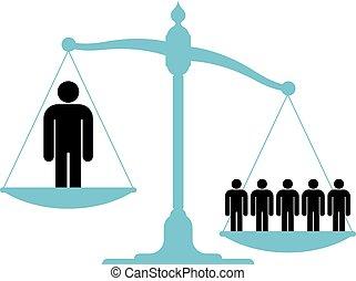 solo, escala, grupo, hombre, desequilibrado