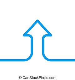 solo, flecha, crecimiento, línea