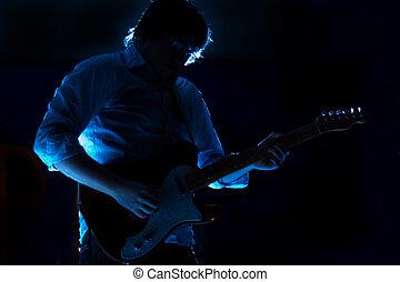 solo, guitariste, exposition