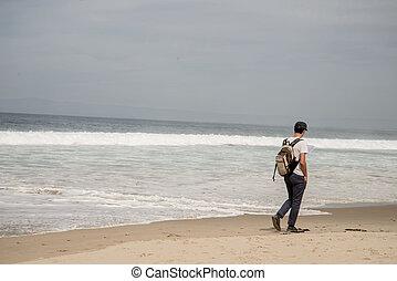 solo, hombre caminar, en, playa