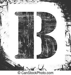 solo, letra b, estampilla, grunge, diseño