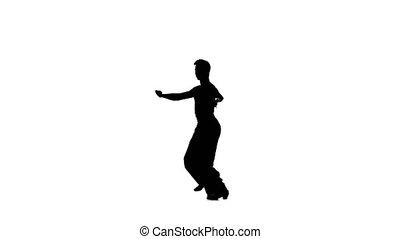 Solo man is dancing elements of ballroom dancing....