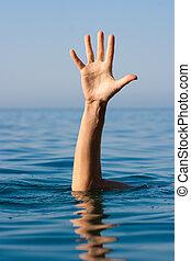 solo, mano, de, ahogo, hombre, en, mar, preguntar, para, ayuda