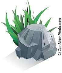 solo, piedra, con, pasto o césped