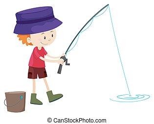 solo, ragazzo, poco, pesca