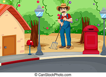 solo, raking, estrada, homem