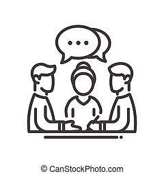 solo, reunión, empresa / negocio, icono