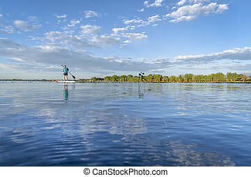 solo stand up paddler on a calm lake in Colorado