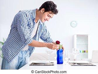 solo, uomo, preparare, suo, data, romantico, innamorato