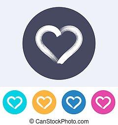 solo, vector, corazón, icono