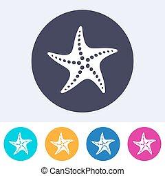 solo, vector, estrellas de mar, icono