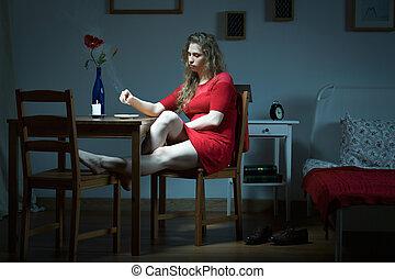 solo, vivente, donna, giovane, infelice