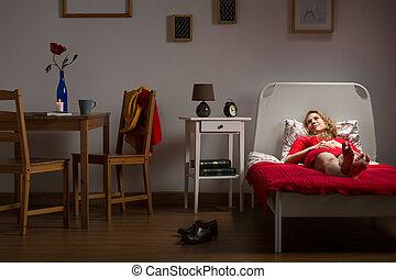 solo, vivente, donna, riposare