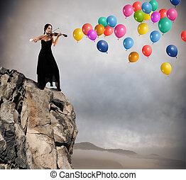 solo, wiolinista, z, balloon