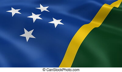 Solomon Islander flag in the wind