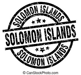 Solomon Islands black round grunge stamp