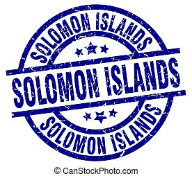 Solomon Islands blue round grunge stamp