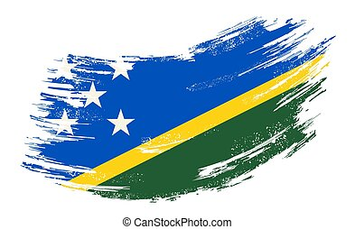 Solomon Islands flag grunge brush background. Vector ...