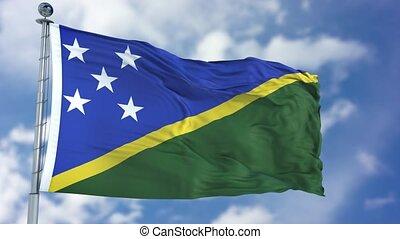 Solomon Islands Flag in a Blue Sky