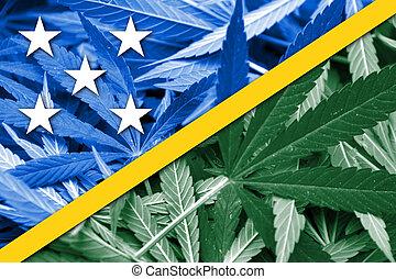 Solomon Islands Flag on cannabis background. Drug policy. ...