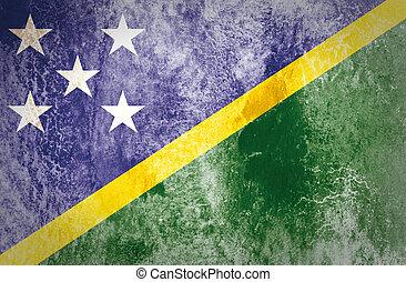 Solomon Islands Flag on grunge paper