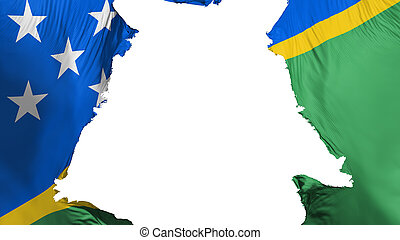 Solomon Islands flag ripped apart, white background, 3d ...