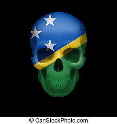 Solomon Islands flag skull - Human skull with flag of...