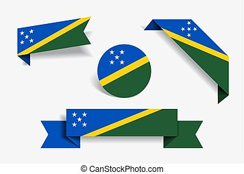 Solomon Islands flag stickers and labels. Vector...
