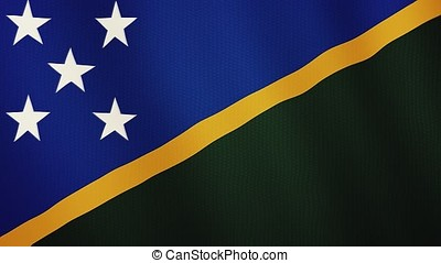 Solomon Islands flag waving animation. Full Screen. Symbol of the country.