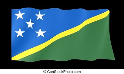 Solomon Islands flag . Waving
